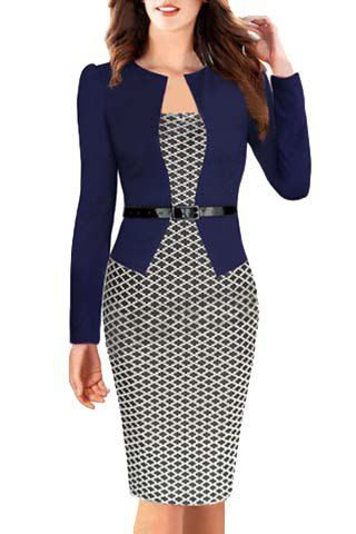 OL Style Women's Round Collar Argyle Long Sleeve Faux Twinset Dress
