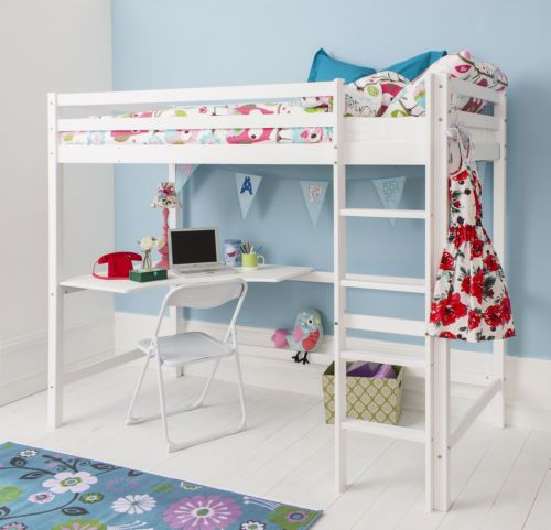 Cabin Bed High Sleeper with Desk in WHITE , Bunk Bed - HIGH Sleeper W | eBay