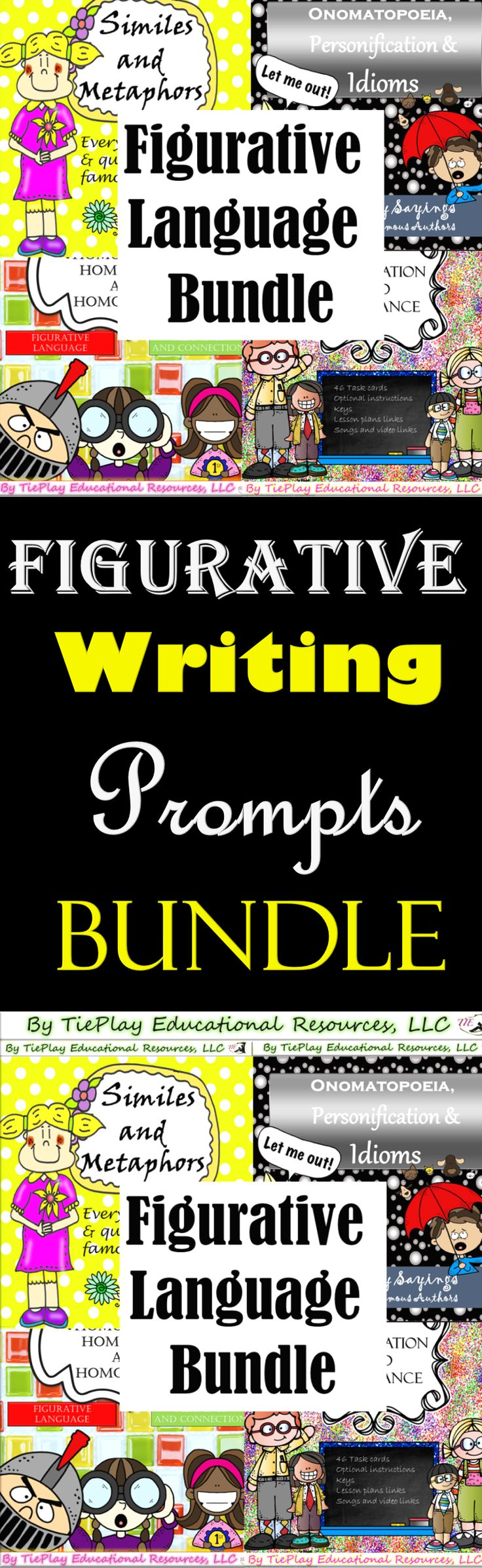 Price $15.00 Get big $$$ savings on an 88 paged figurative language bundle. This bundle includes: 184 task cards,  keys, Instructions for the teachers, lesson plans for over 3 weeks,  and video links.  1. Onomatopoeia, Personification and Idioms   2. Similes and Metaphors   3. Homophones, Homonyms and Homographs   4. Alliteration and Assonance