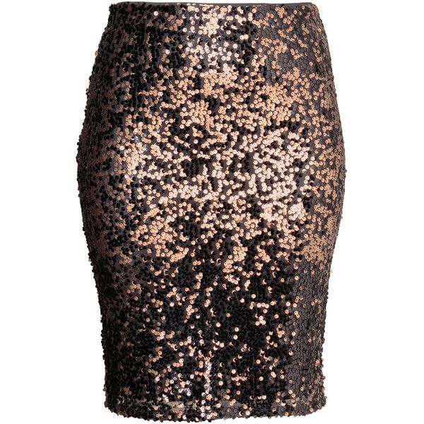 H&M+ Sequined skirt ($38) ❤ liked on Polyvore featuring skirts, plus size, black knee length skirt, black skirt, plus size black skirt, elastic waist skirt and black sequin skirt
