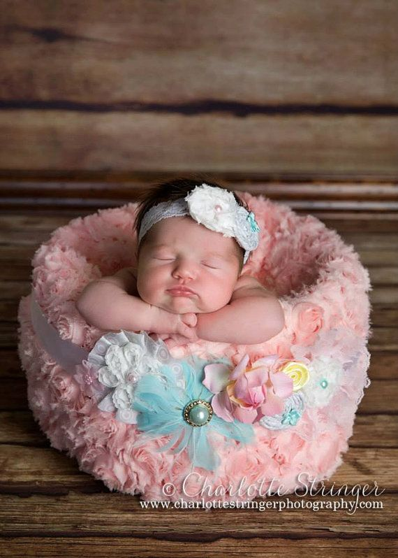 Please look at 2nd photo maternity sash newborn photo prop headband sash set hot pink aqua ready to ship