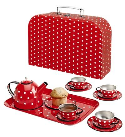 Cute Red polka dot tin tea set. simple and looks sturdy for plenty of playtime.