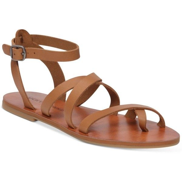 Lucky Brand Women's Aubree Flat Sandals ($59) ❤ liked on Polyvore featuring shoes, sandals, brown sugar, brown sandals, brown flat shoes, flat shoes, brown flat sandals and brown shoes