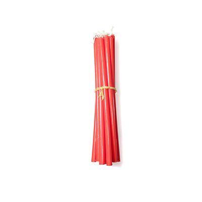 candelina rossa: •Stoppino 100% cotone •Fatto con cera per uso alimentare •Ecofriendly •Prodotte con energia solare •Made in Italy by Cereria Terenzi Evelino •Confezione da 12 candeline mini stelo •Diametro: 8 mm •Lunghezza: 20 cm