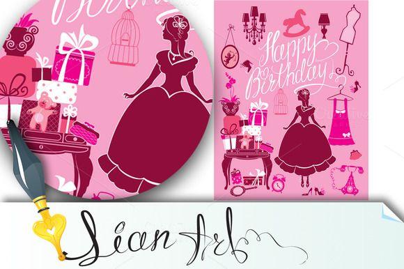Happy Birthday. Сard for girls by Lian-art on @creativemarket