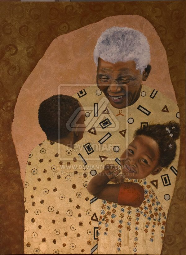 "Nelson Mandela with Children by Sommeling.   in:  Features Journal ""Tribute to  Nelson Rolihlahla Mandela 18 July 1918 – 5 December 2013"" - Art and Quotes."