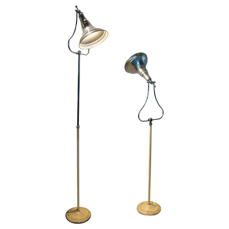 Machine Age Art Deco Industrial Medical Aluminium Chrome Floor Lamps | From a unique collection of antique and modern floor lamps at https://www.1stdibs.com/furniture/lighting/floor-lamps/