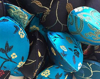 TURQUOISE Blue and BLACK Fortune Cookie Wedding Favor Boxes 40   Gift Pouches   Place Card Holders   Silk Brocade Asian Chinese Party Favors
