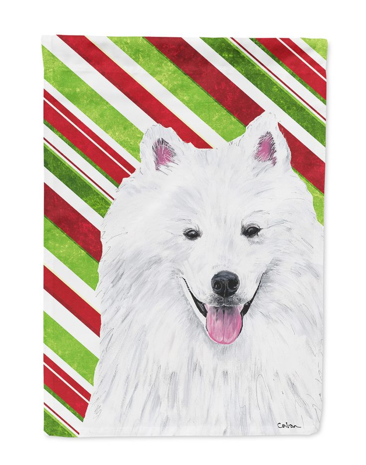 American Eskimo Candy Cane Holiday Christmas Flag Garden Size