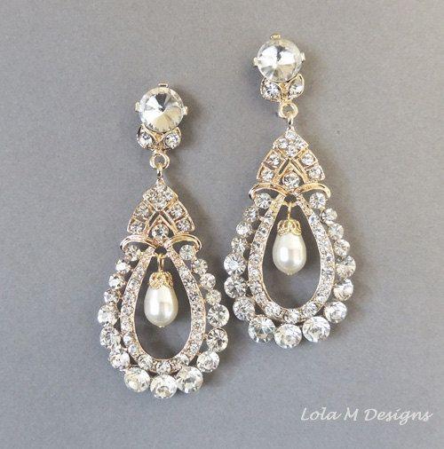 Bridal Earrings Vintage Inspired Swarovski Pearl Gold Chandelier Wedding Accessory Jewelry