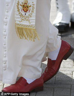 Pope Benedict XVI's Italian Red Loafers: An amazing find for today's Red Shoe Monday - Papal Red Loafers! Pope Benedict XVI sports these Italian-made ruby red loafers in his day-to-day duties. An insightful explanation into his decision to go red can be found at NPR.