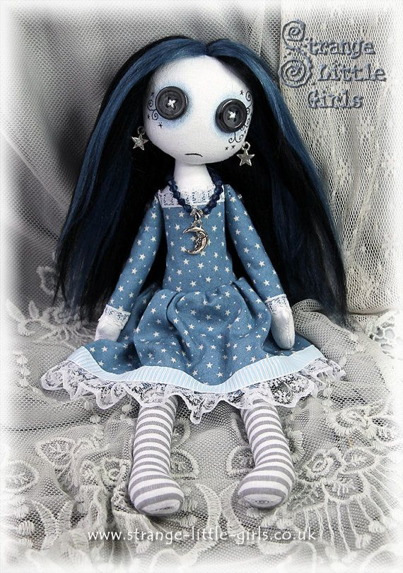 OOAK 10 inch button-eyed Gothic cloth art doll by StrangeLittleGirlsUK