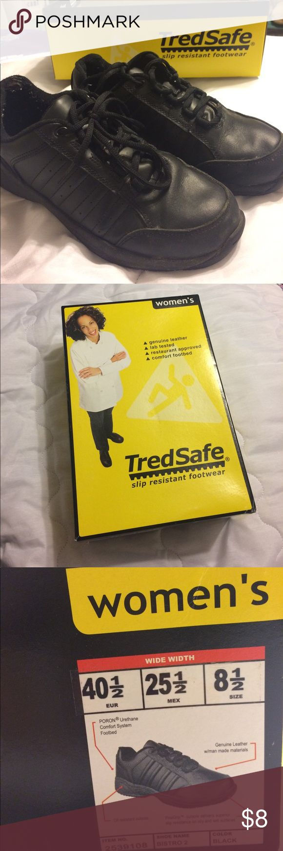 TredSafe Food Service Black Sneakers Oil and slip resistant black sneakers. Urethane comfort system footbed and genuine leather with man made materials. Worn for a brief food service job, but have LOTS of wear left in them. TredSafe Shoes Sneakers