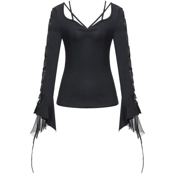 Freda Corset Sleeve Longsleeve Gothic Top by Dark in Love ($34) ❤ liked on Polyvore featuring tops, corsette tops, goth tops, long sleeve corset, gothic tops and sleeve top