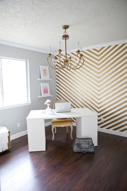 So Shay: Glamorous home office with fabulous hand painted white and gold  chevron accent wall