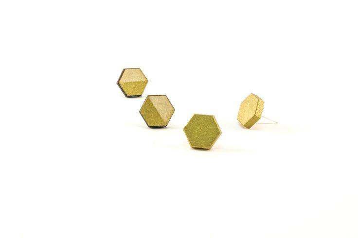 Wooden Stud Earrings | Handmade Painted Hexagon Gold Dip Geometric Shape Earrings