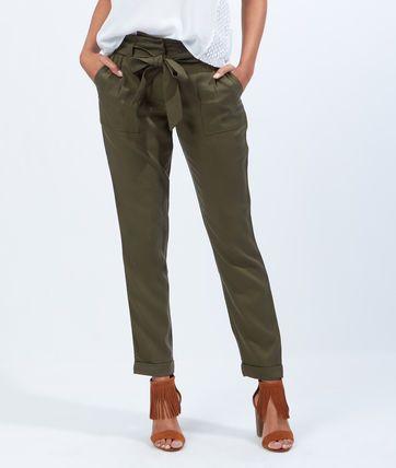 Pantalon fluide en lyocell, ceinture noeud - Pantalons, shorts - La collection - Prêt-à-porter