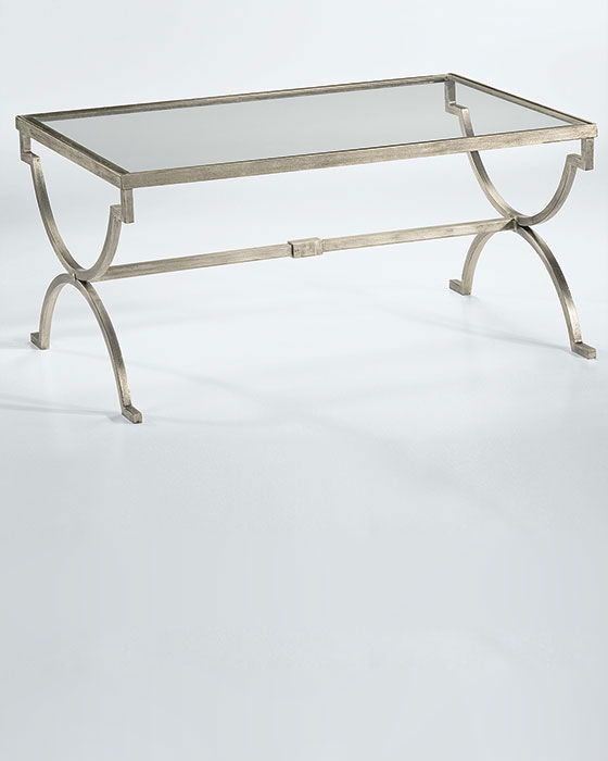 Rectangular Hand Wrought Iron Coffee Table With Lightly Antique Silver Leaf Finish And Clear Glass