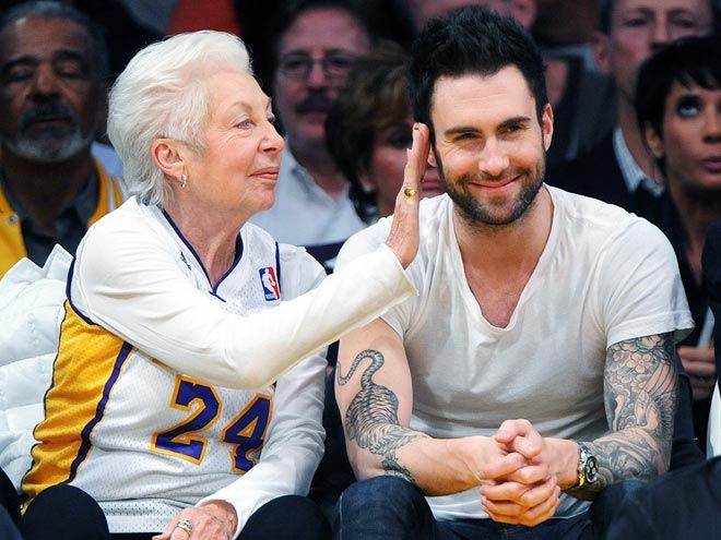 They look lovely together - Adam Levine & his grandma at the Lakers game. Love his smile!!