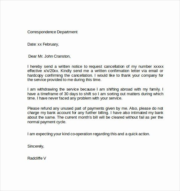 Termination Of Services Letter Inspirational Sample Letters Cancellation Lettering Letter Example Letter Template Word