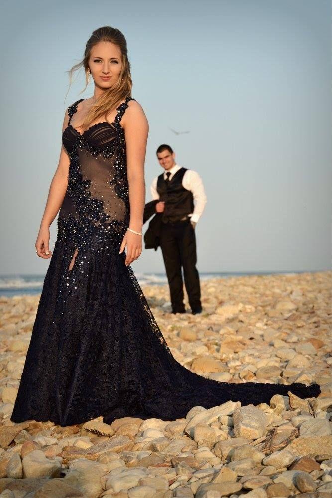 Navy lace gown by Inge Coetzer Designer Studio