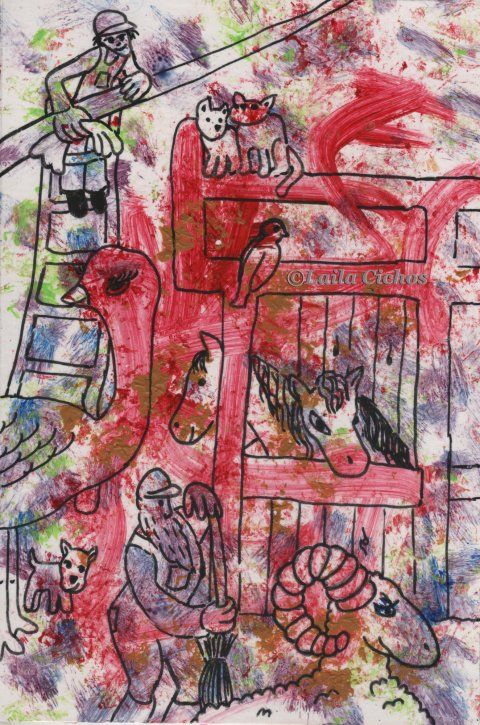 """""""Cleaning in the stables"""". Acrylic on paper. Akryl på papir."""