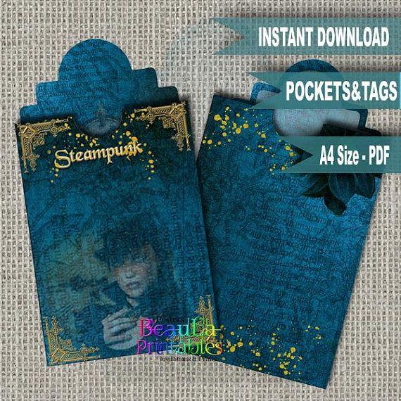 Steampunk Grunge Tags Printable Steampunk Labels Steampunk