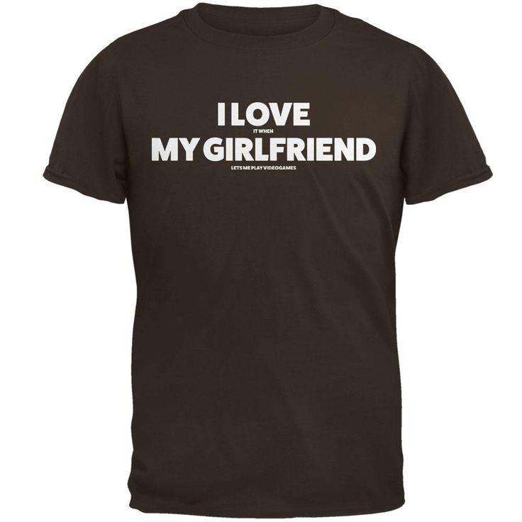 Valentines I Love My Girlfriend Video Games Brown Adult T-Shirt