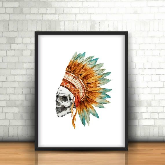 PRINTABLE Tribal Skull, Tribal Skull Print, Tribal Printable, Skull Art Print, Watercolor Skull Prints, Human Skull Art, Skull Decoration by FarahLynnDesign on Etsy