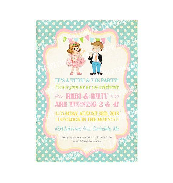 Digital PRINTABLE Vintage Tutus & Ties Boy Girl Twin Joint Celebrate Birthday Tea Party Friends Princess Children Invitation Card Sheet IN61