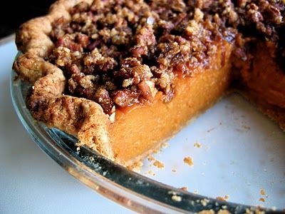 The Bojon Gourmet's Pecan-Topped Sweet Potato Pie: southern comfort of a different sort. All-butter (sourdough) crust filled with bourbon sweet potato custard and topped with gooey, salted pecans
