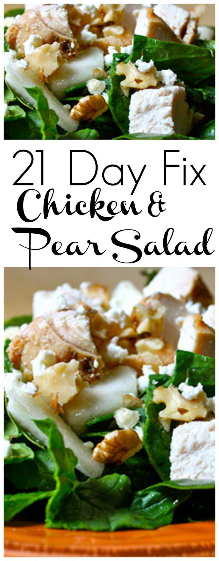 21 Day Fix Chicken and Pear Salad #21dfx #21dayfix #21dayfixsalad…