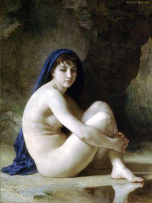 Seated Nude by Bouguereau. Order from DEKORAMI as a poster, canvas print, mural. Zamów jako obraz na płótnie, plakat lub fototapetę na DEKORAMI.pl