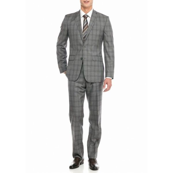 Vince Camuto Light Gray Modern-Fit Plaid Suit ($348) ❤ liked on Polyvore featuring men's fashion, men's clothing, men's suits, light gray, mens two piece suits, mens plaid suit, mens 2 piece suits, mens light grey suit and mens shiny suits