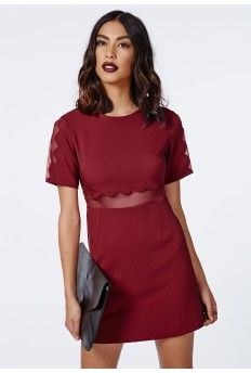Verity Crepe Scallop Shift Dress in Burgundy - Such a pretty colour