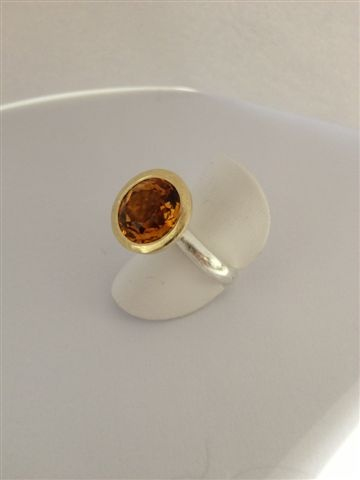 Citrine in 18ct yellow gold and sterling silver
