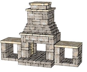 Kingston see-through outdoor fireplace from Romanstone via Midwest Block & Brick.