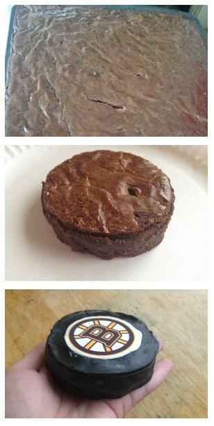 Brownie Pucks #hockey. I so gotta do this but mine will say Kings <3
