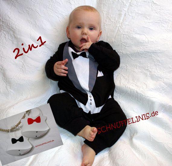 tuxedo onesie Baby Frack Baby Taufanzug  Latz von Schnuffelinis