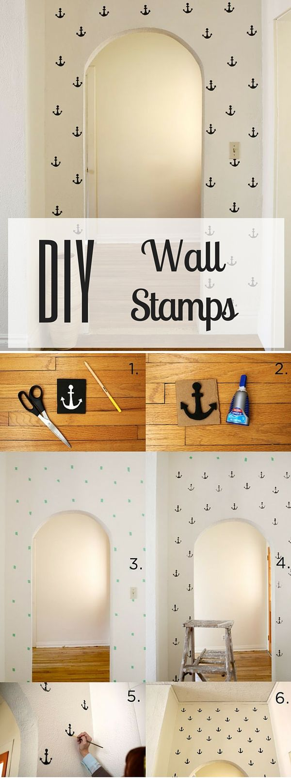Check out the tutorial: #DIY Wall Stamps #crafts #homedecor
