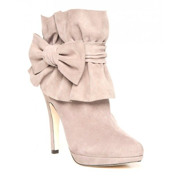Bourne Ruffle Cuff and Bow Detailed Elle Suede Ankle Boots ...