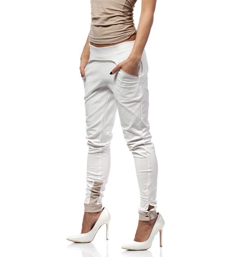 FashionSupreme - Pantaloni în nuanță ecru cu elemente bej - Haine de damă - Pantaloni - Moe - creați-vă propriul stil. Haine şi accesorii de marcă. Haine de designer.