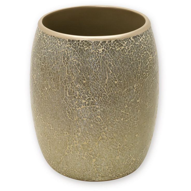 India Ink Huntington Resin and Cracked Glass Contemporary Waste Basket - Champagne (Beige)