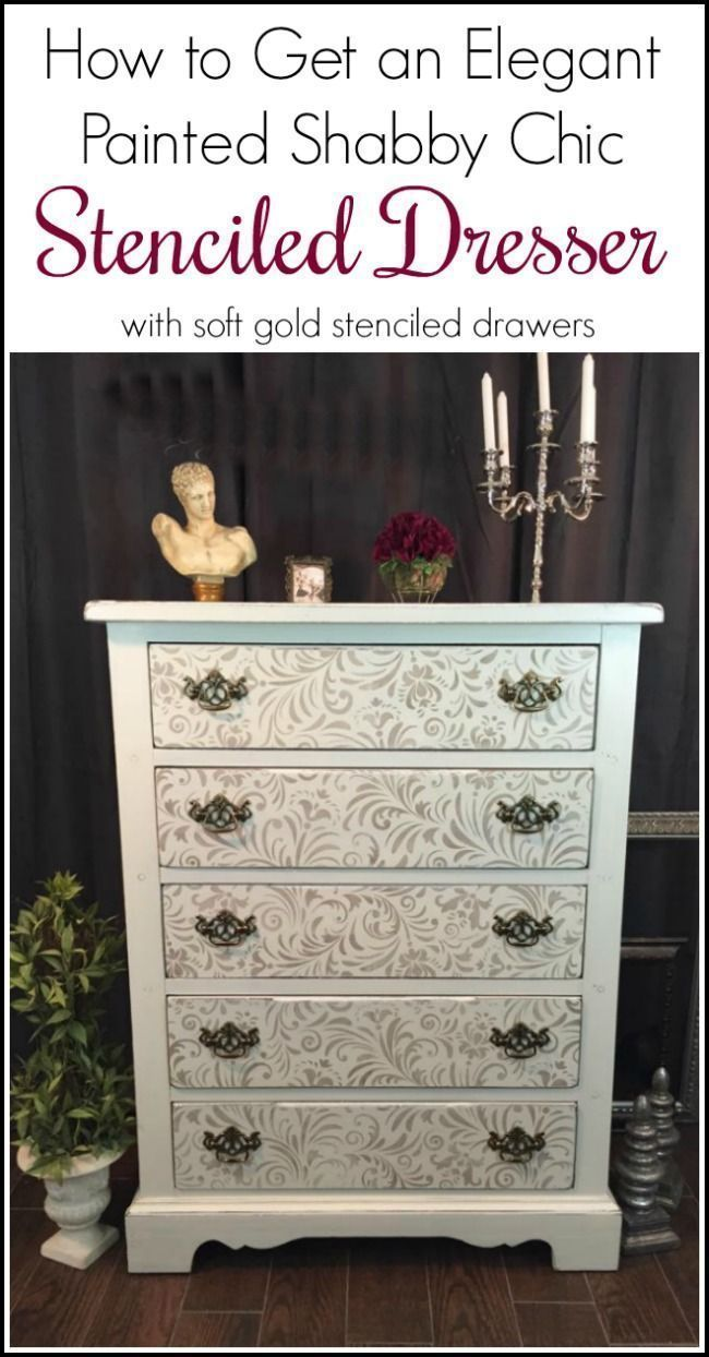 How to Get an Elegant Painted Shabby Chic Stenciled Dresser from a boring brown vintage chunky dresser. Add an elegant gold stencil to a painted dresser via @justthewoods #shabbychicdressersvintage