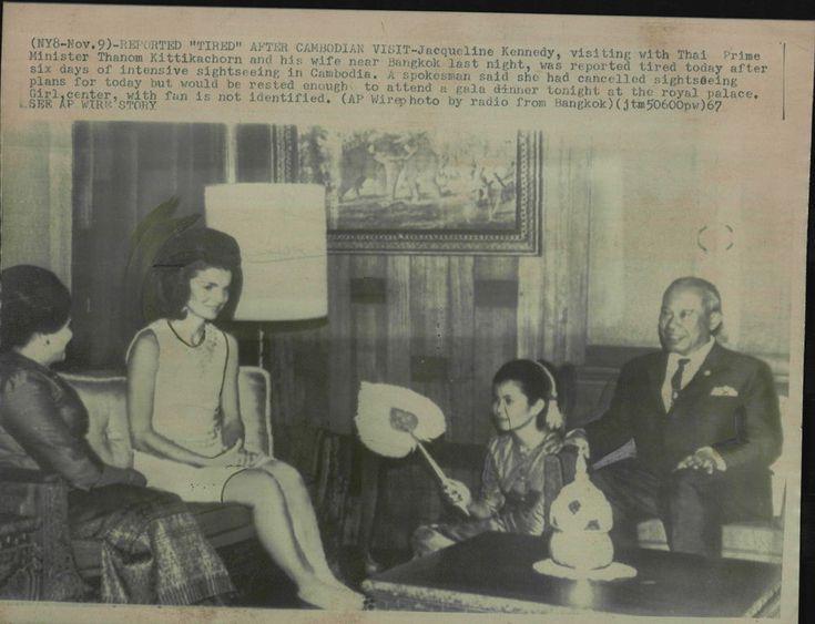 Jacqueline Kennedy meets Prime Minister Thahom Kittikachorn of Thailand.
