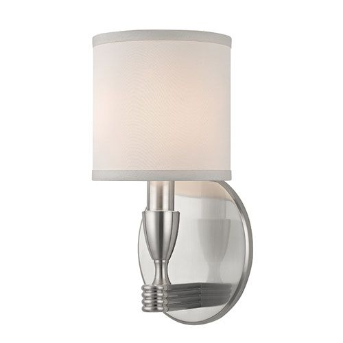 Bancroft Satin Nickel One Light Wall Sconce Hudson Valley Fabric Shades Only Wall Sconces