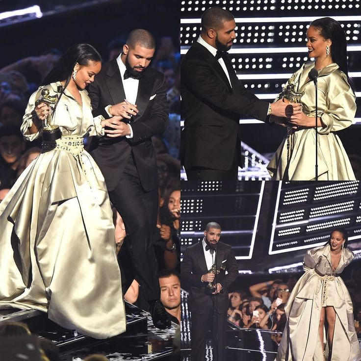 Congrats Girl! #Rihanna and #Drake onstage at the 2016 MTV #VMAs at Madison Square Garden on August 28 in New York City.