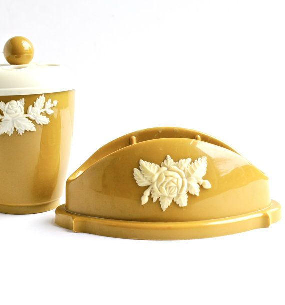 Vintage Toothbrush Holder & Soup Dish - Retro 1960s Golden Mustard Yellow Bathroom Canisters / Rustic Roses by Maejean Vintage, $16.00