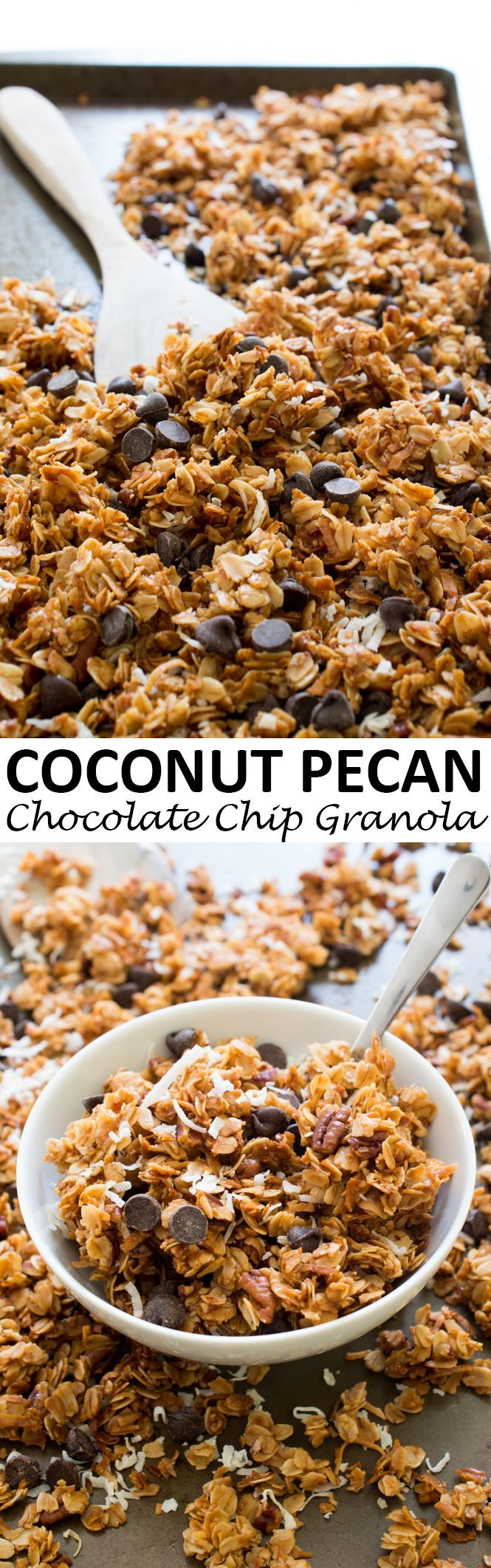 *Super easy homemade granola recipe! Would be so easy to vary it a bit. Add flax, chia, dried cherries/cranberries/blueberries...* 5 Ingredient Coconut Pecan Chocolate Chip Granola.