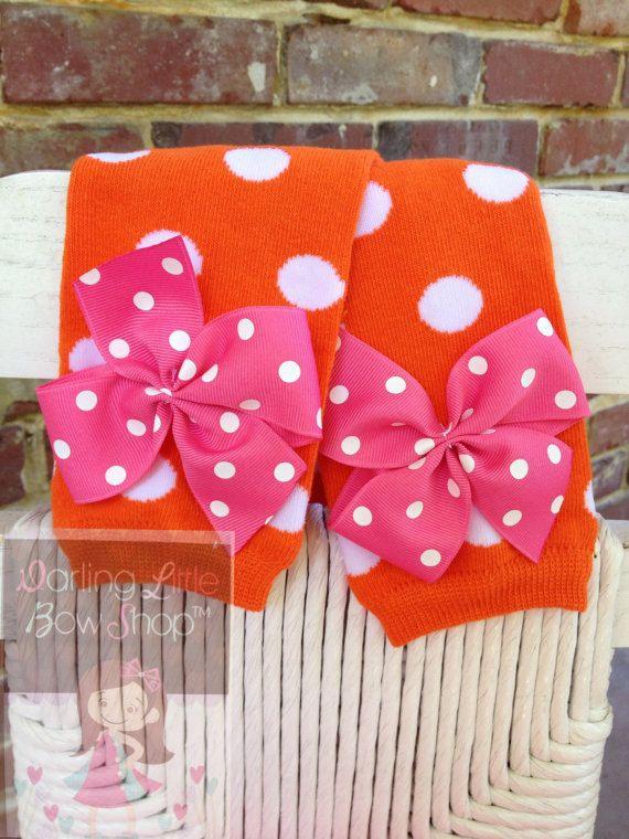 Aquecedores de perna de abóbora - Aquecedores de perna de arco - laranja, rosa quente e bolinhas brancas para bebês